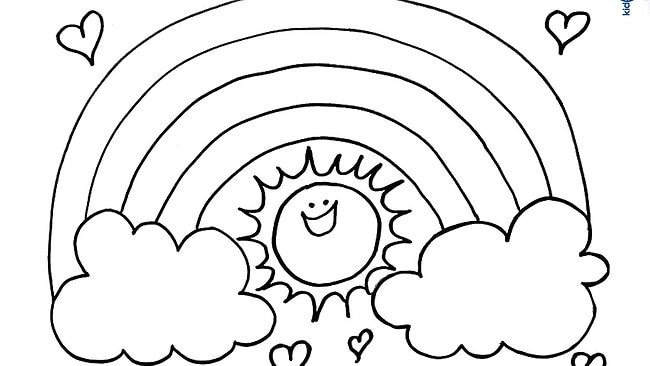 Colouring page: Rainbow sun | Daily Telegraph