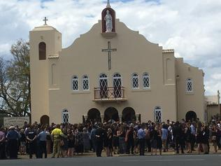 Family and friends gather in Mareeba to pay their respects at the funeral of Elyse Miller-Kennedy. PICTURE: GRACE MASON