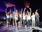 """World Cup Champions U.S. Women's Soccer National Team, Heidi Klum and Taylor Swift onstage during The 1989 World Tour Live at MetLife Stadium on July 10, 2015 in East Rutherford, New Jersey ... """"Got to welcome the U.S. Women's Soccer Team home after their World Cup Victory- I LOVE THEM AND THEY ARE THE NICEST."""" Picture: Getty"""
