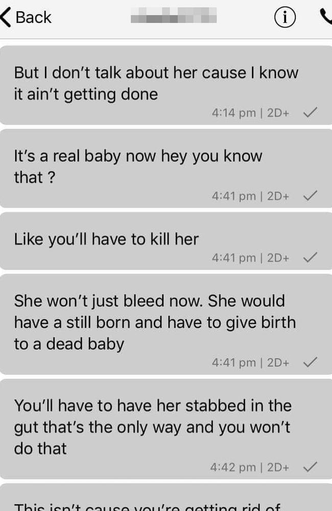 Correspondence between Daniel King and an unidentified woman discussing an alleged plan to have Stacey Taylor murdered.