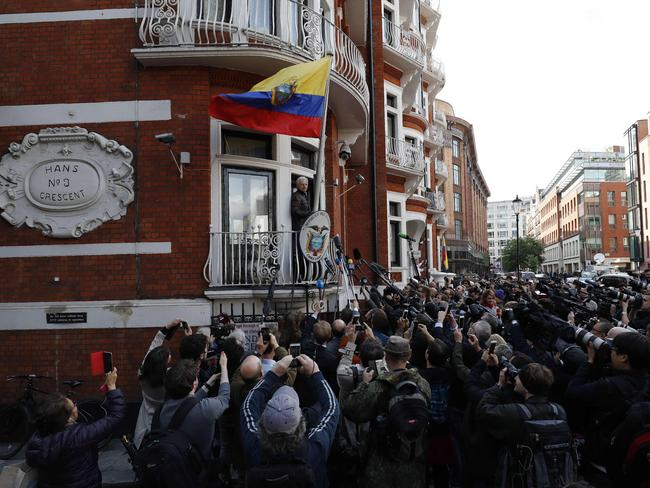 The Ecuadorean Embassy is fed up with scenes like this. Picture: AFP/Adrian Dennis