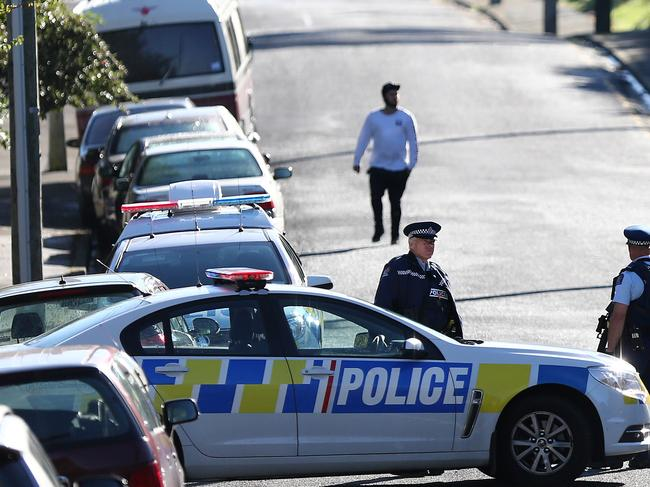 Police investigate a property at Somerville St in Dunedin, New Zealand. Residents were evacuated. Picture: Getty Images