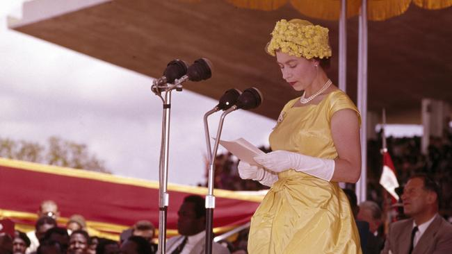 Queen Elizabeth II during the royal tour of West Africa in Ghana, circa December 1961. Picture: Popperfoto/Getty Images