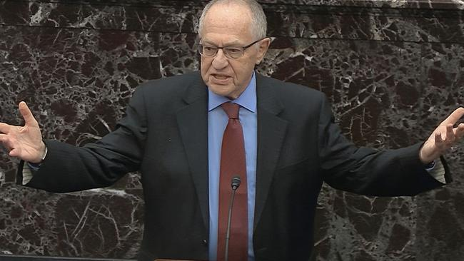 Alan Dershowitz arguing in Mr Trump's impeachment trial. Picture: Senate Television via AP