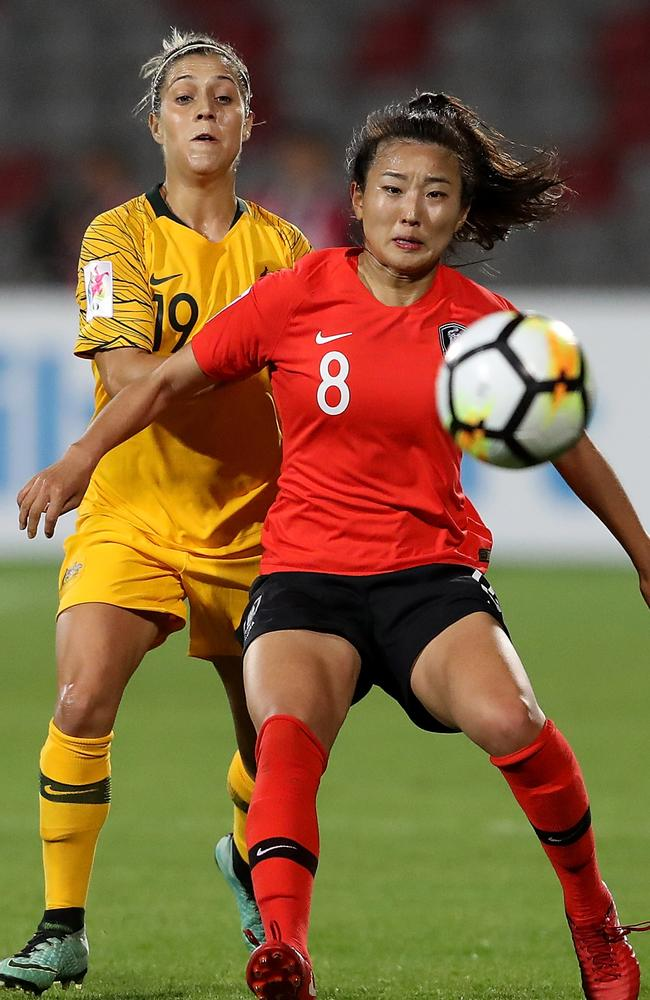 Matilda Katrina Gorry competes with Cho So Hyun of Korea Republic in action during the AFC Women's Asian Cup Group B match in Amman, Jordan. Picture: Francois Nel/Getty Images