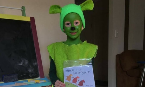 WHERE IS THE GREEN SHEEP? This one could either be simple with some green clothes and a little cotton wool, or you could go all out and paint your child head to toe in green. We love the level of commitment this mum reached with her little green sheep.
