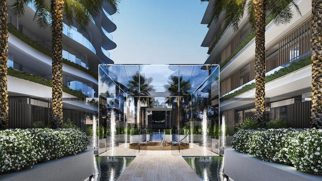 Saint Moritz has a range of high-end features never before seen in Melbourne, including a glass-cube entry modelled on New York's famous Apple store.