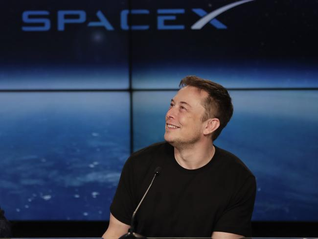 Elon Musk, founder, CEO, and lead designer of SpaceX, speaks at a news conference following the successful launch. Picture: John Raoux