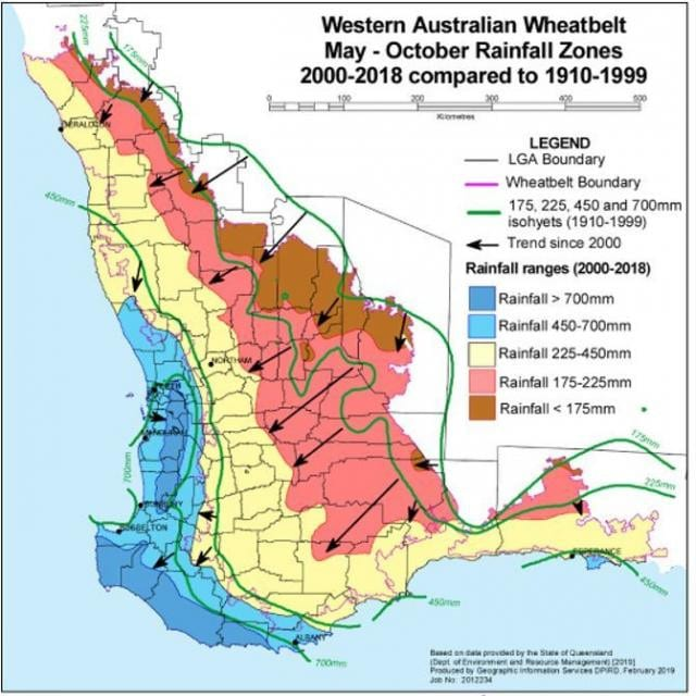 Rainfall reductions in the May to October growing period of southwest Western Australia. Source: WA Department of Primary Industries and Regional Development