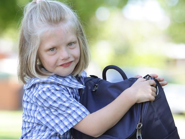 Little Olive Baddock is starting Kindy at Wakehurst Public next week, she's profoundly deaf and is going to a mainstream school. Picture: Martin Lange/News Corp Australia.