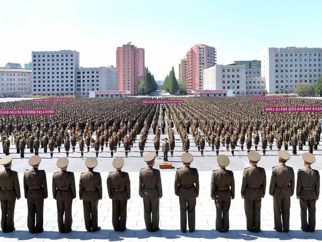 Servicepersons of the Ministry of People's Security during an anti-US rally in Pyongyang. Picture: AFP