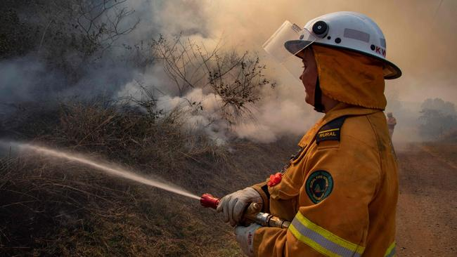 A firefighter tackling a bushfire at Canungra in Queensland.