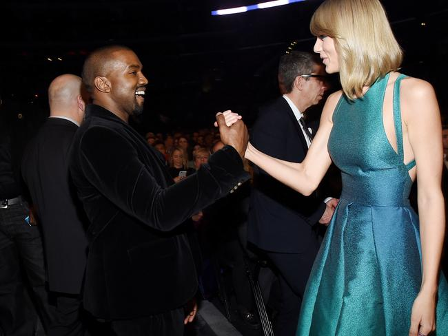 Friends again ... Kanye West and Taylor Swift are planning to work together. Picture: Larry Busacca/Getty Images for NARAS