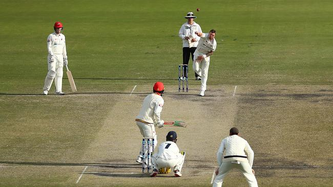 Aussie quick James Pattinson bowling off-sin. Picture: Kelly Defina/Getty