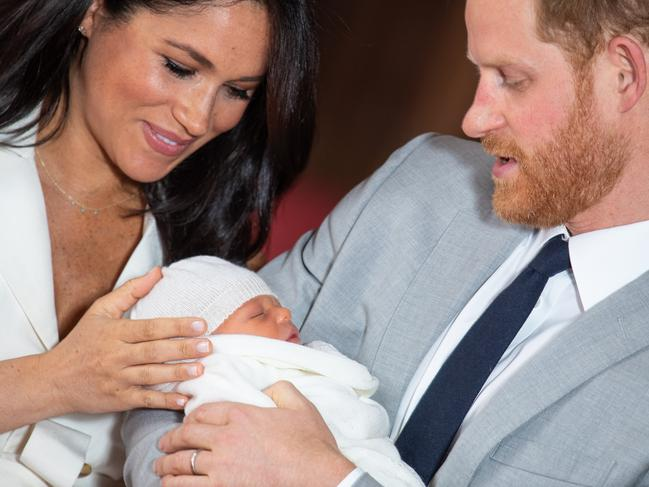 Meghan and Harry with their new arrival. Picture: Dominic Lipinski — WPA Pool/Getty Images