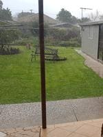 Hail falling in Klemzig. Picture: Kerry Stanley