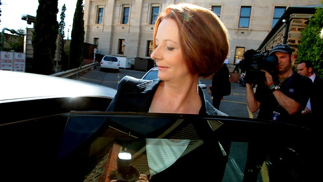 Prime Minister Julia Gillard holds a press conference to announce she will hold a leadership ballot on Monday. Picture: Kelly Barnes
