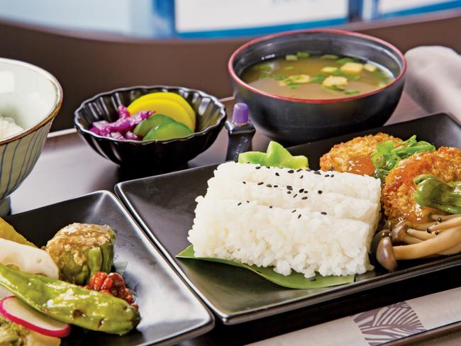 The Japanese-style meal served in Hawaiian Airlines' premium cabin. Picture: Supplied