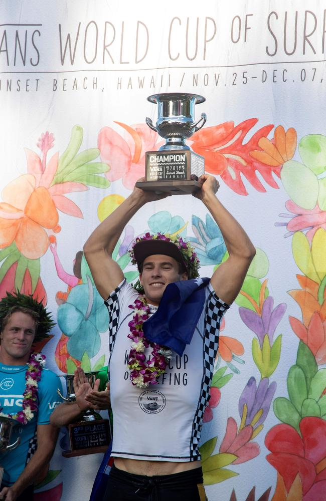 Australia's Jack Robinson celebrates after victory in the Sunset Beach Pro. (Photo by Brian Bielmann / AFP)