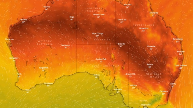Large parts of NSW are tipped to break 40C on Thursday. Picture: Windy