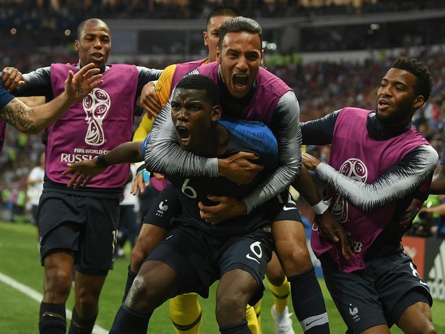 Pogba celebrates his World Cup final goal with his France teammates. Picture: Getty Images