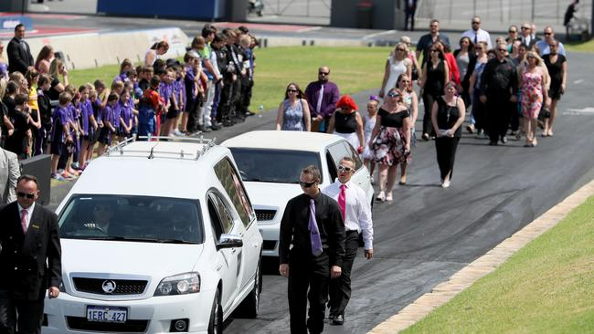 Funeral of Anita Board at the Pit Area of the Perth Motorplex, Kwinana. Picture: Colin Murty/The Australian