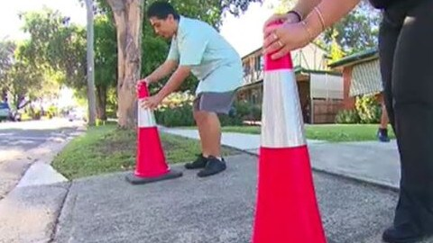 Neighbours plan to put out witches hats to keep him from getting parked in again. Source: Channel 9