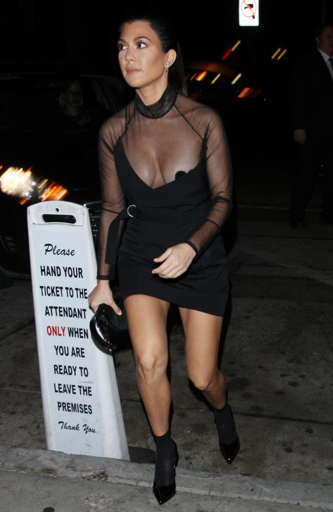 Kourtney Kardashian (and the valet sign) outside Craig. Picture: Splash