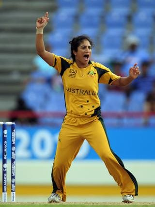 Australian cricketer Lisa Sthalekar celebrates after dismissing Indian Mithali Raj during the ICC Womens World Cup Twenty20 semi final match between Australia and India at the Beausjour Cricket Ground in Gros Islet, Saint Lucia in 2010.