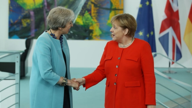 German Chancellor Angela Merkel and British Prime Minister Theresa May. Image: Sean Gallup/Getty.