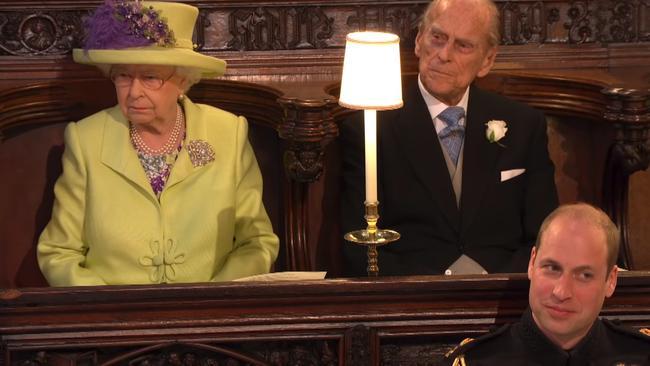 Queen Elizabeth II, Prince Philip, Duke of Edinburgh and Prince William, Duke of Cambridge during the sermon. Picture: BBC