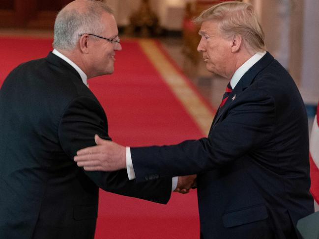 Mr Morrison said the phone call with President Donald Trump was brief and uneventful. Picture: Alex Edelman/AFP