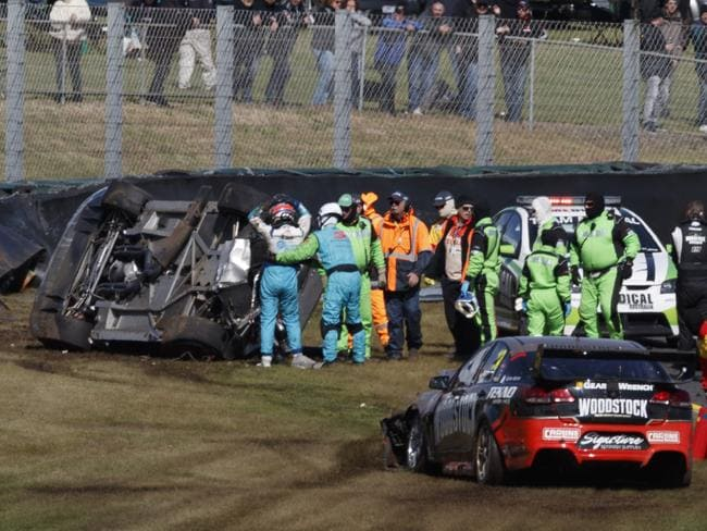 Todd Hazelwood was fortunate to walk away uninjured. Picture: Mark Horsburgh.