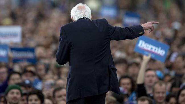 Mr Sanders addressing another rally in Texas, which votes on Super Tuesday. Picture: Nick Wagner/Austin American-Statesman via AP