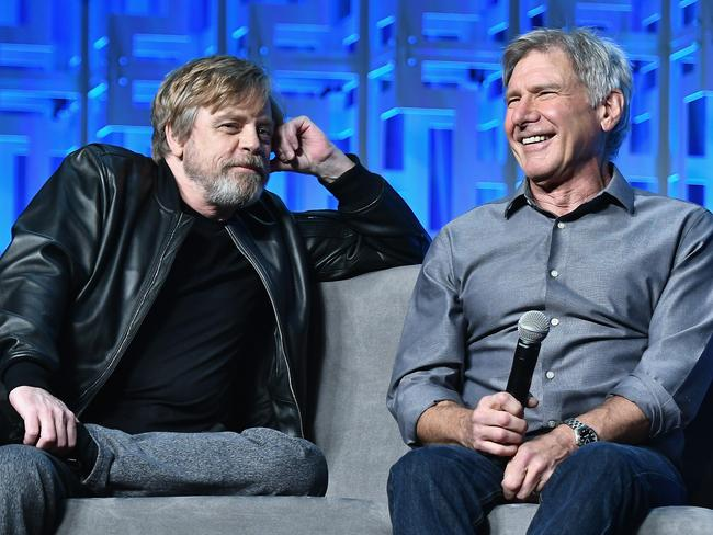 Mark Hamill and Harrison Ford attend the first day of the Star Wars Celebration, marking 40 years since the first movie was released. Picture: Gustavo Caballero/Getty Images