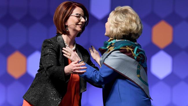 Former Australian prime minister Julia Gillard and former US presidential candidate Hillary Clinton on stage at a Women World Changers series in Melbourne, Thursday, May 10, 2018. Picture: AAP / Joe Castro.
