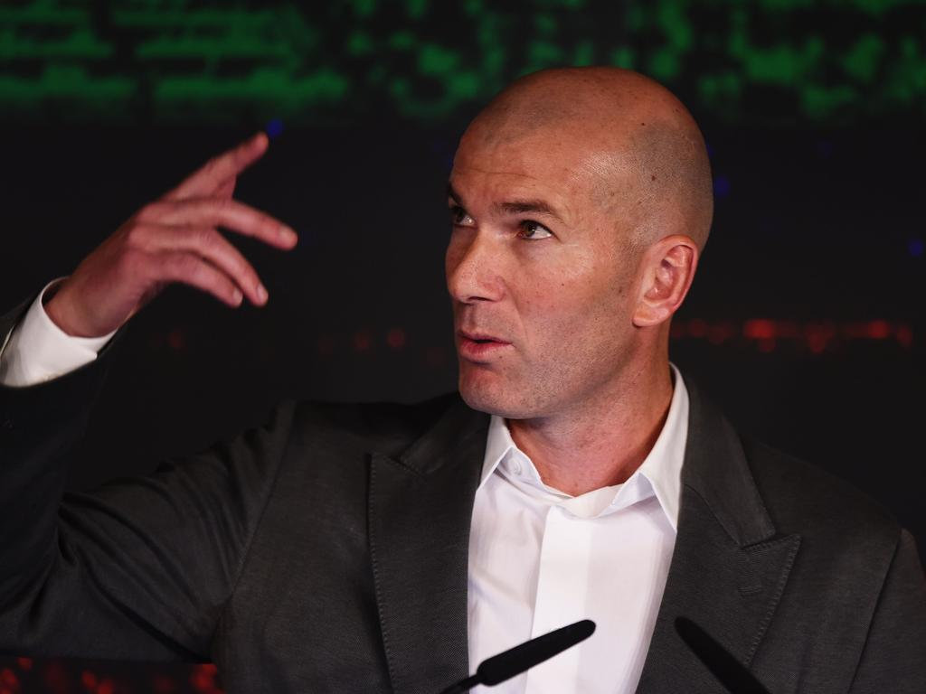 Zinedine Zidane speaks during a press conference.