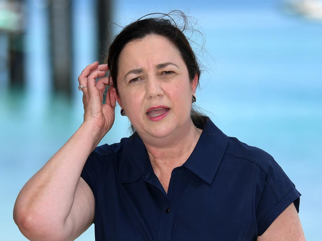 Queensland Premier Annastacia Palaszczuk says it was the federal government that withdrew permission for a charter flight from Laos to land in Cairns. Picture: NCA NewsWire/Dan Peled