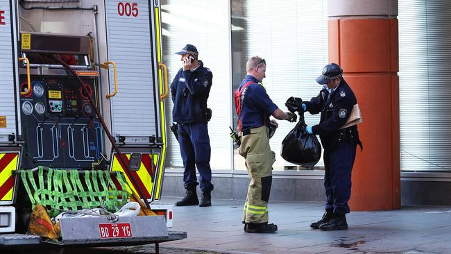Emergency services outside the Australian Immigration and Visa Centre in Sydney. Picture: Brett Costello