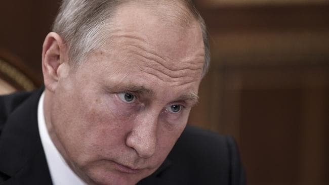 Russian President Vladimir Putin listens during a meeting in Moscow, Russia. Picture: AP