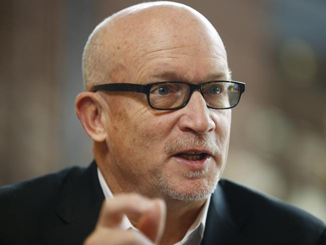 Alex Gibney, director of the Film Zero Days answers questions during an interview with The Associated Press.