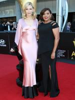 Cate Blanchett and Deborah Mailman arrive on the red carpet for the 4th Annual AACTA Awards held at The Star in Pyrmont. Picture: Richard Dobson