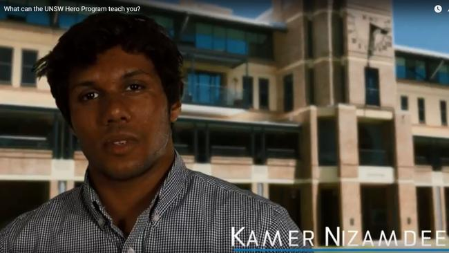 Mohamed Nizamdeen was a model student, actively involved in campus life and featured in UNSW promotional materials.