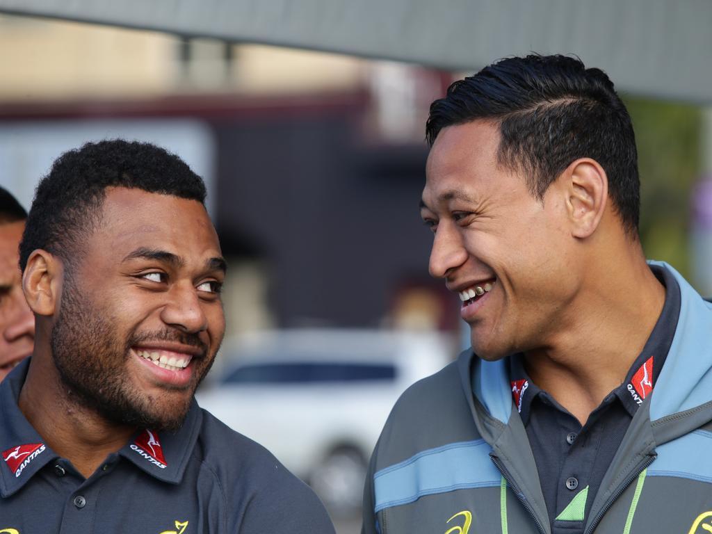 Samu Kerevi and Israel Folau share a laugh at a Bledisloe Cup fan event.