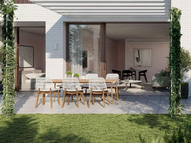 An artist's impression of one of the terrace apartments at Surry Hills Village.