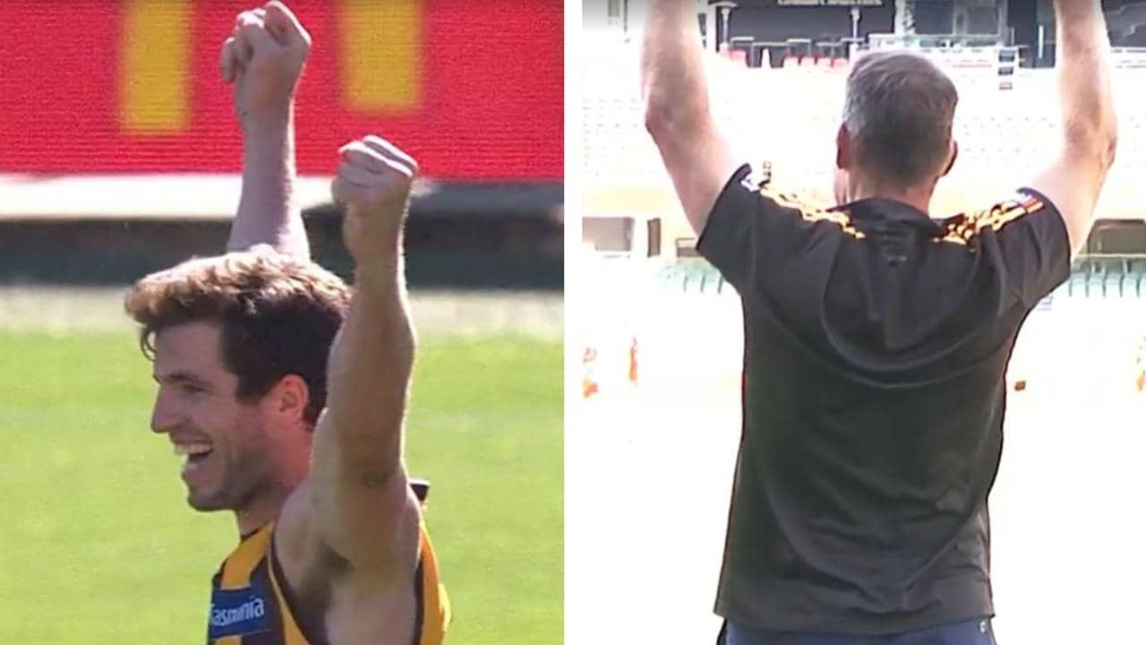 Ben Stratton broke the AFL's longest goalless streak in his final game - and Alastair Clarkson was loving it.