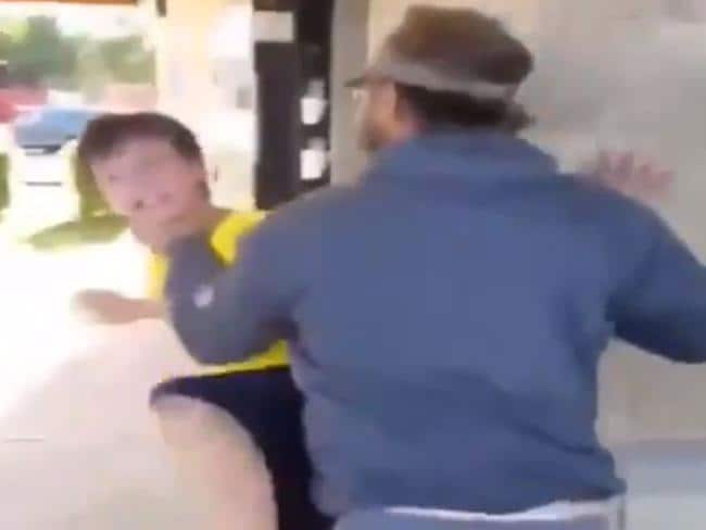 This is the moment the man reacts and finally pushes the boy back, a clip that was reportedly only shared by the mother online to paint the man in a bad light.