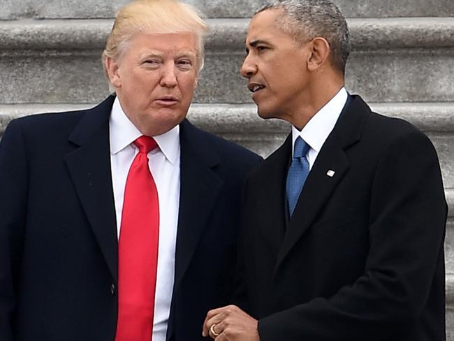 President Donald Trump and former President Barack Obama. Picture: AFP.