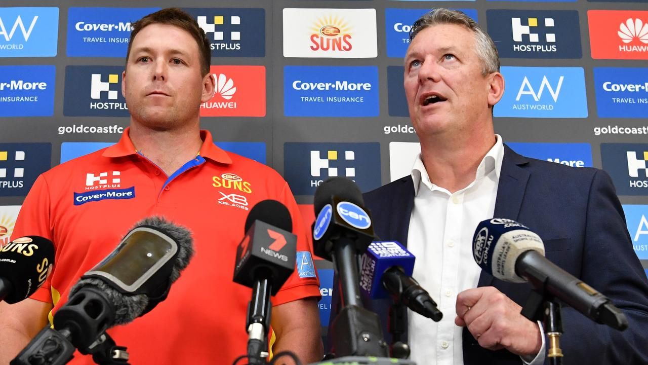 Gold Coast Suns coach Stuart Dew (left) and Chief Executive Mark Evans (right). (AAP Image/Darren England)