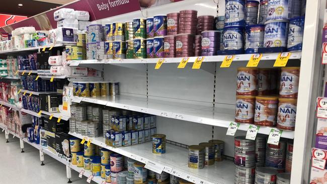 A depleted shelf at a supermarket in The Hills, Sydney during a formula shortage. Picture: News Corp Australia